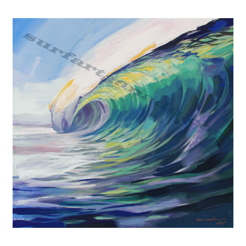SURF PAINTINGS - SURF PAINTING-GREEN WAVE Acrylic On Canvas- Surf